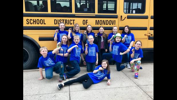 "Mondovi youths showed off their first-place medals from the March 10 Destination Imagination regional competition in Osceola, where the fourth and fifth grade squad (""Tune Transformers"") and the middle school team (""The Goonies"") qualified to compete at State DI this Saturday."