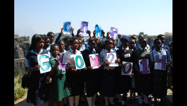 Girls attend Camp GLOW, a program organized to help educate young women, in Victoria Falls, Zimbambwe.