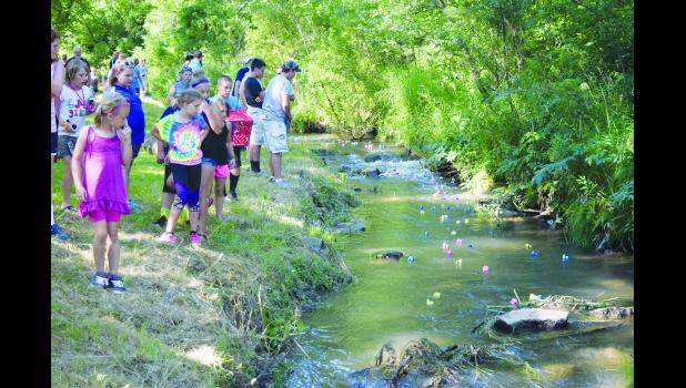 Youth watch the 2016 Duck Race during last year's Arkansaw Creek Park Days. This year, Arkansaw Creek Park Days is July 7 and 8.  Laura Berndt file photo