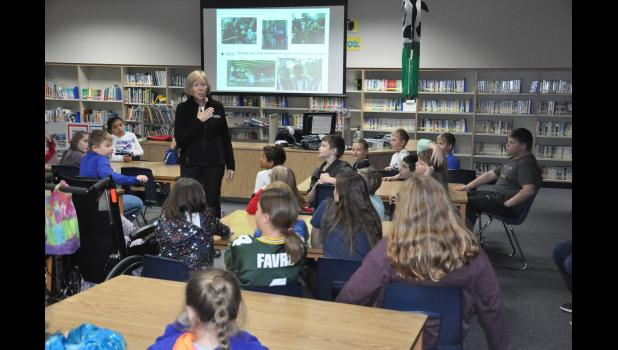 Red Cross volunteer Linda Nicastro presented to Mondovi Elementary students on Monday, Nov. 12, about ongoing disaster relief efforts. The elementary student council initiated a Penny War this week to raise money that will be donated to the Red Cross to assist with relief efforts in Florida in the wake of Hurricane Michael. Penny War donations will be accepted in the Mondovi Elementary office through Friday, Nov. 16.