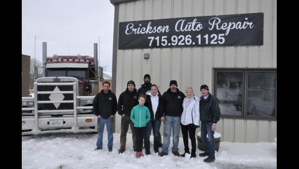 Erickson Auto Repair opened in Mondovi this week at the former Polzer's Auto location at 165 W. Riverside Ave. Wes Erickson officially purchased the shop from Chuck and Nancy Polzer April 5 after they searched for more than eight years to find a buyer. Pictured are Wes Erickson (back), his daughter, Jessica Erickson (front), Erickson's staff (left to right) Jonathan Medeiros, Devin Popham, Amy Popham, and Ryan Popham, and former shop owners Nancy and Chuck Polzer.