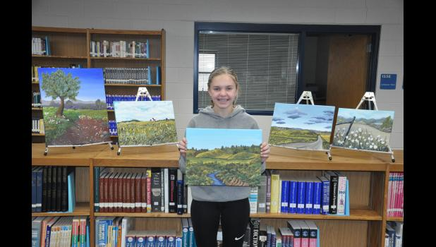 Acrylic and oil paintings by Mondovi High School freshman Anna Gray are currently on display in the school's IMC. Two of her landscapes were showcased this spring in selective galleries in Eau Claire and La Crosse.