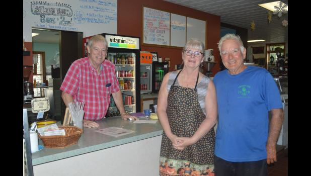 Bill spent some time at Eagle's Nest Coffee House last Tuesday morning writing his daily blog. He is pictured here with owners Java Jim and Java Jan.