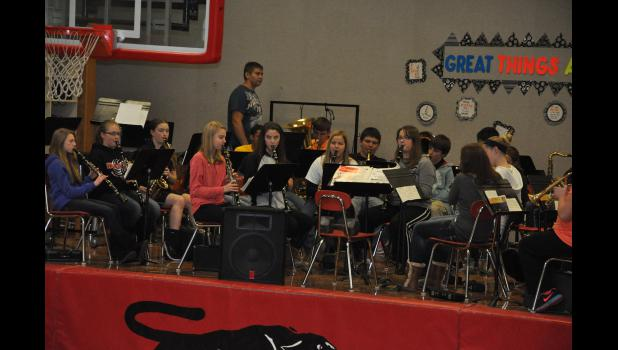 The Gilmanton High School band set the tone during the pep rally to send off Gilmanton's four football players. The Indees put together a top-notch season this fall, making it all the way to the Level 3 playoff game.
