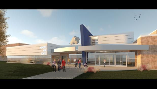 "A rendering shows how the front entrance near the large gym, commonly known as the ""Buffalo Lobby,"" could look. An addition would unify existing lobby areas between the large and multipurpose gyms, create a new space for the middle/high school office, and provide a more visible location for concessions and a school store, according to preliminary floor plans."