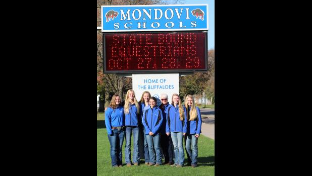 The Mondovi Equestrian Team put forth a stellar effort in its first trip to the WIHA State Championship Show, finishing in sixth place with several top individual finishes. Team members are (pictured, left to right) Tarryn Wertz, Alissa Hopp, Autumn Morrow, Shaelee DeWitt, Coach Jean Sandberg, Kira Lee, Emma Sandberg.