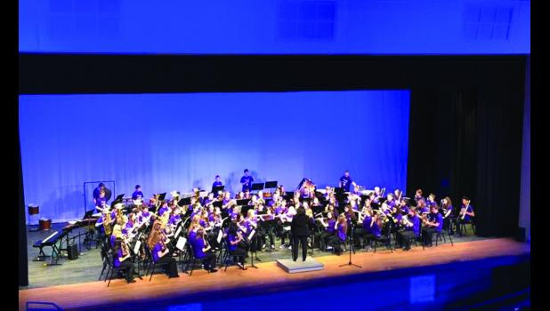 Members of the Lewiston Altura High School Band participated in Honor Band at Kasson Mantorville on Saturday throughout the whole day.  Here, the honor band performs for the evening performance together.  Photo by Carol Boynton