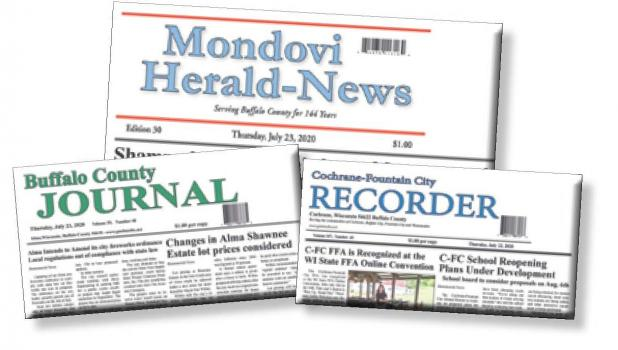 All three of Buffalo County's weekly newspapers—the Mondovi Herald-News, Buffalo County Journal and the Cochrane-Fountain City Recorder—will merge into one newspaper, the Buffalo County News, starting Aug. 6.