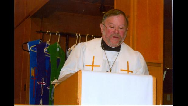 Pastor Paul Woebbeking served Zion Lutheran Church in Mondovi for nearly 16 years prior to his recent retirement. Pictured, Woebbeking preached during his final service on Sunday, April 8, which also included a retirement celebration organized by family and church members.