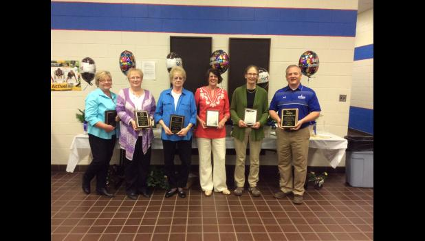 Mondovi Schools staff members who were recently honored for their years of work within the district are (left to right) Ruth Accola, Cindy Brenner, Morrell Heck, Jan Moe, Mary Werlein and Fred Schmitz.