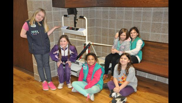The Mondovi fifth grade Girl Scout troop is working to bring attention in the local community to a new wheelchair lift at Central Lutheran Church for members to reach areas of the church that were previously inaccessible to wheelchairs. The Scouts, pictured, left to right, Tatianna Rutkowski, Savanna Noetzelmann, Keely Wensel, Reynah Larson, Hope Conrad, and Caroline Currier, are focusing on community outreach and awareness of those with physical and/or developmental disabilities to earn their Bronze Award.