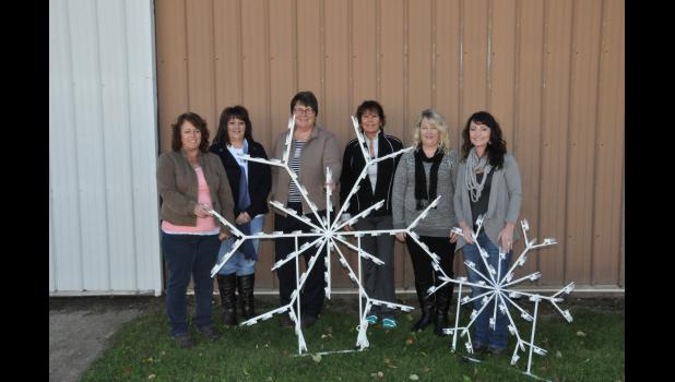 Members of the Mondovi Women's Business Network recently displayed two of the 14 snowflakes the group purchased following a three-year effort to obtain new Christmas decorations for the downtown area. Pictured, MWBN members include, left to right, Lisa Amidon, Lori Larson, Ann Thompson, Sara Erickson, Trish Peterson and Brenda Stanford. Not pictured—Denise Marsolek. Obtaining the new decorations to replace Christmas items that were over 30 years old was made possible exclusively by local donations.