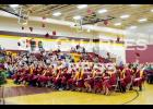 The Dover-Eyota High School Class of 2015 tosses their hats into the air near the end of Sunday's graduation ceremony at Dover-Eyota High School. Photo by St. Charles Press Editor Laura Berndt.