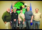 Kaleb Wurst (center) is working collaboratively with the City of Elgin on his Eagle Scout project and is pictured here with Mayor Rich Hall, Councilman Ron, Kaleb, Councilman Tim Boardman, and Assistant Scoutmaster Kent Hofer.    Photo by Cheryl Nymann