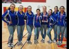Pictured with their first place trophy at Sparta are Mondovi dance team members Kendra Gilreath, Maddy Larson, Jensen Hayes, Tori Ross, Brittany Yealey, Rylee Feldten, Cassidy Van Roo and LaMarria Hawkins.