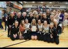 Members of the 2017 regional champion Mondovi dance team are, pictured, front, left to right, Kendra Gilreath, Assistant Coach Keauna Braun, Tori Ross, Head Coach Anna Johnson, LaMarria Hawkins, Jensen Hayes, Megan Odegard; back, Abby Ronnei, Lindsey Buchholz, Abigail Gaulke, Kylee Werlein, Jaden Gilreath, Cassidy Van Roo, Rylee Feldten, Assistant Coach Katie Buntrock, Dani Brunner.