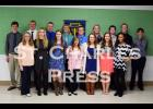 The entire group of St. Charles National Honor Society members poses for a picture at the end of the ceremony.  In the front row are Taylor Littlefield, Rachael Nunemacher, Michelle Kramer, Sammy Pietzrak, Shelby Heim, Hannah Spitzer and Deja Mosley. In the second row are Caleb Forbes, Torger Jystad, Andrew Beirne, Derek McCready, Lucas Reisdorf, Kaitlin Sikkink, Dane Wiskow, Quinn Roessler and Coy Schweider.
