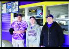 Above are Scott Stori, employee Jacky Chilson, and Pam Stori at the Panther Drive In in Durand. Laura Berndt photo