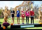 Kassye Todd (second from right)  stands on the podium with other Division 3 individual state qualifiers at the WIAA Division 3 Sectional Championship Meet, held in Durand. Laura Berndt file photo
