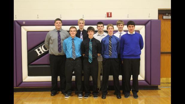 The 2014-15 Augusta junior varsity players are (front, from left) Michael Schroeder, Sam Witte, Evan Stensen, Ryan Dorf; (back) Carter Berlin, Kyle Priest, Trenton Mayer and Leo Plewa.